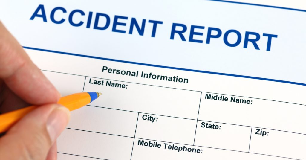 A victim creating an accident report
