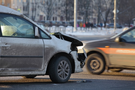 two cars collision at an intersection