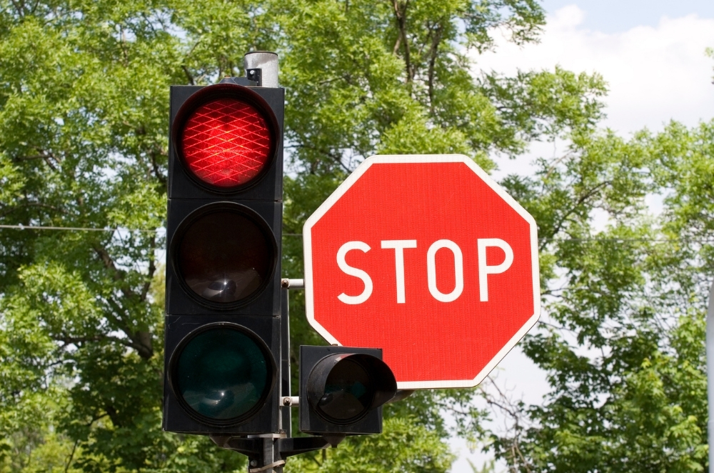 stop light and sign